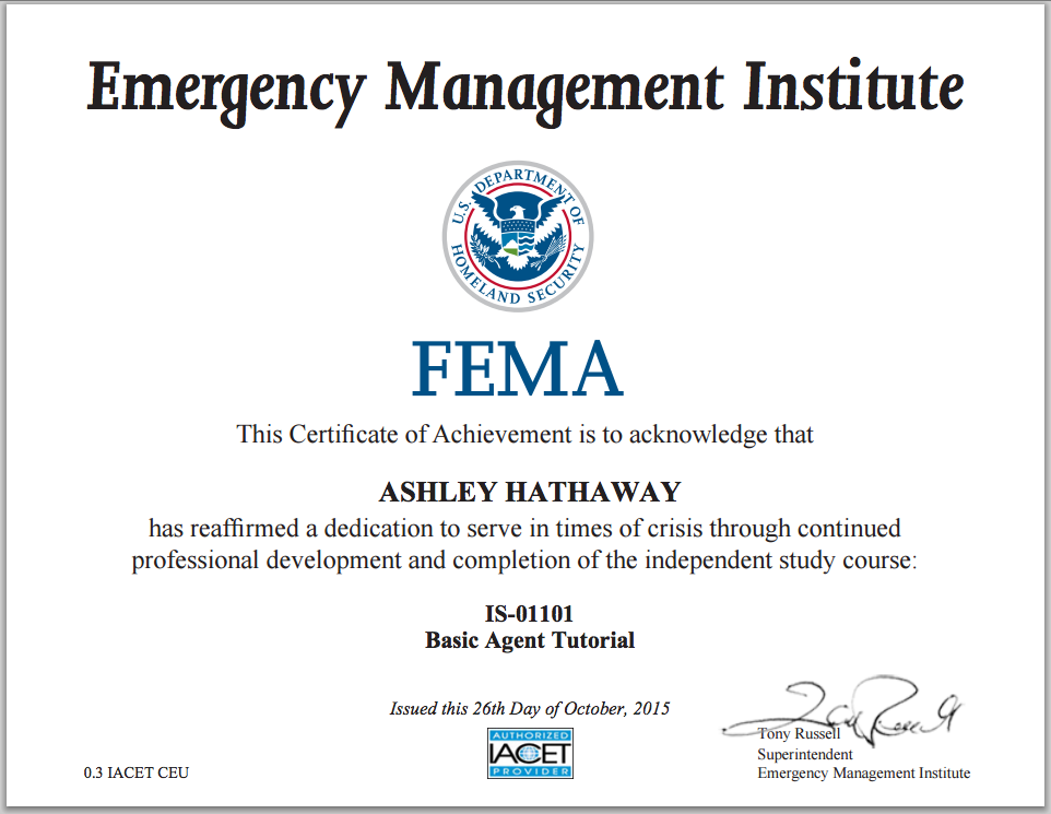 FEMA Emergency Management Institute Certificate